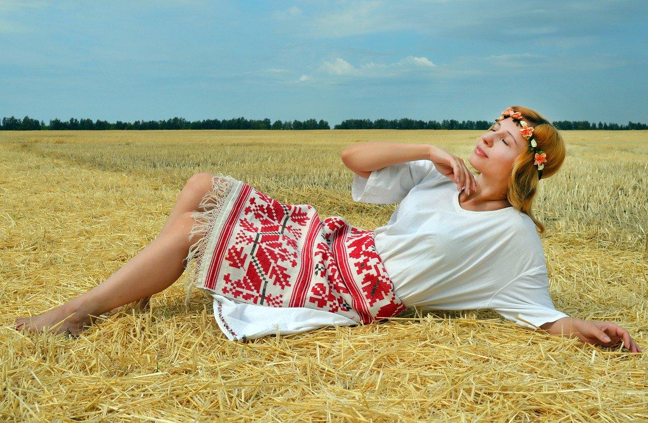 woman, model, folk costume